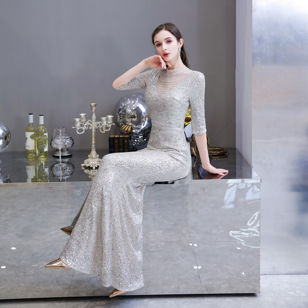 Elegant Long Party Dresses Silver Sequin Mermaid Evening Gowns Half Sleeve Beading High Neck Walk Beside You Sparkly Formal Prom