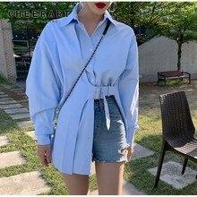 Korean Shirt Blouse Clothing Belt CHEERART Button-Up-Collar Long-Sleeve Fashion Women