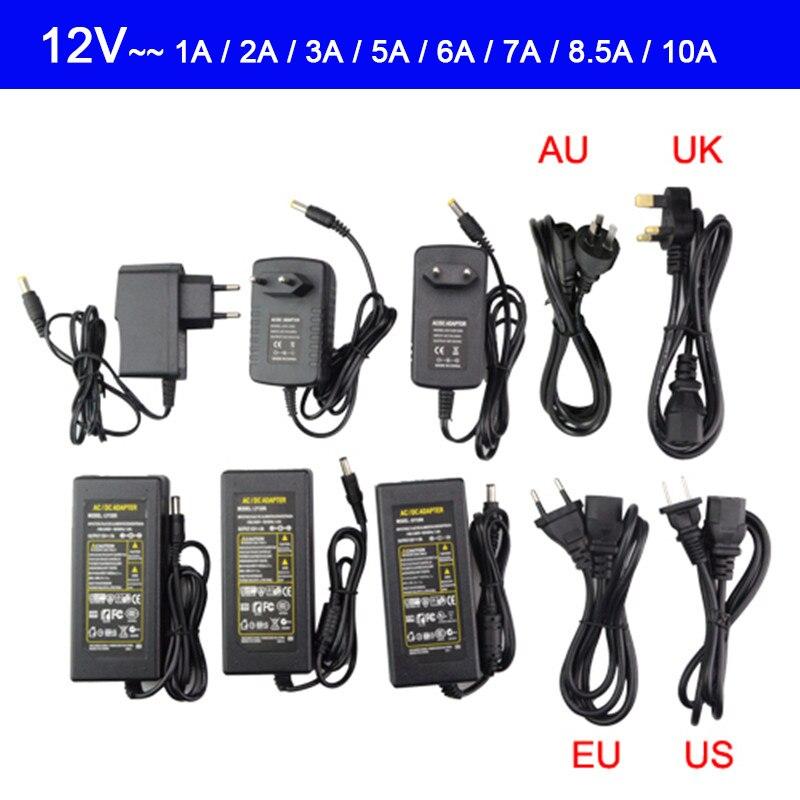 AC100-240V источник питания постоянного тока 5 В, 12 В, 24 В, 1 А, 2 А, 3 А, 4 а, 5 В, 6 А, 8 А, 10 А, адаптер трансформатора для светодиодной ленсветильник 5050, 3528...