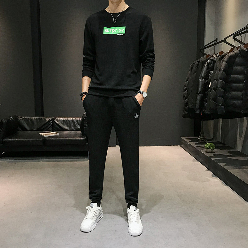 Sup Autumn New Style Long Sleeve Crew Neck Printed Hoodie Suit Men's Korean-style Trend Trousers Casual Sports Two-Piece Set
