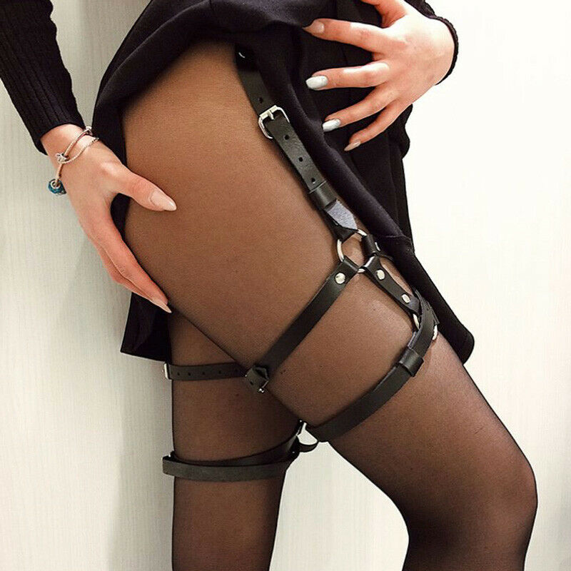 PU Leather Suspenders Harness Leg Garter Belts Sexy Women Waist To Leg Bandage Cage Straps Garter Body Belts Lingerie