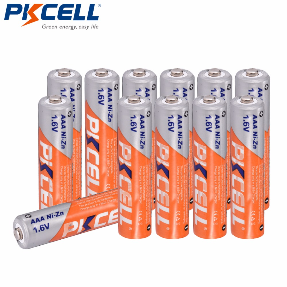 12 pièces PKCELL AAA 1.6V 900mWh ni-zn AAA piles rechargeables 3a nizn aaa piles pour Microphone, clavier sans fil