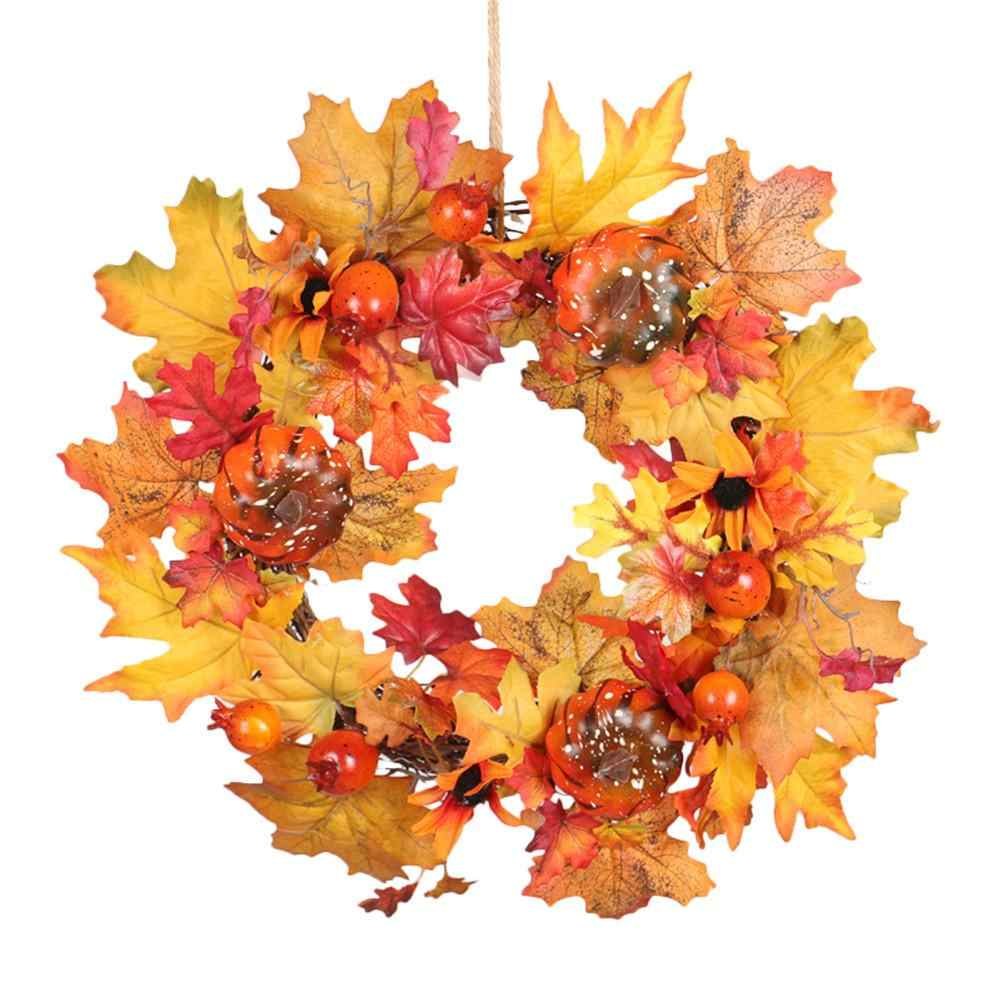 40 ซม.ฟักทอง Acorn ผลไม้ Vine พวงหรีดคริสต์มาสตกแต่งบ้านขนาดใหญ่ Pine Nuts หูข้าวสาลี Maple Leaf ฮาโลวีนแขวนผนัง