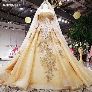 Image 1 - Robe de soirée dorée en organza, robe de fête, épaules dénudées, dos, couleur, modèle LS63454 1, chine, vente en ligne, à lacets