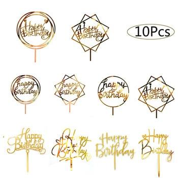 10 Uds. De Topper para tarta de feliz cumpleaños, adornos para tarta de Oro Acrílico, suministros para fiesta de cumpleaños, artículos promocionales