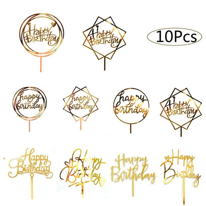 10 pçs feliz aniversário bolo topper acrílico ouro bolo toppers feliz aniversário festa suprimentos decorações do bolo itens promocionais