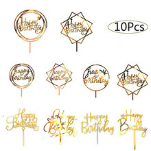 10pcs Happy Birthday Cake Topper Acrylic Gold Cake Toppers Happy Birthday Party Supplies Cake Decorations Promotional Items