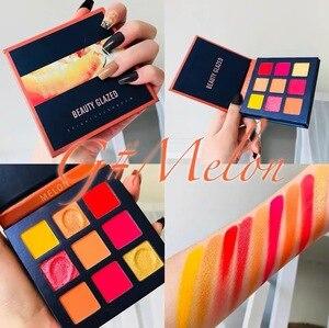 Image 5 - Schönheit Glasierte Make Up Lidschatten Pallete make up pinsel 9 Farbe Schimmer Pigmentierte Lidschatten Palette Make up Palette maquillage