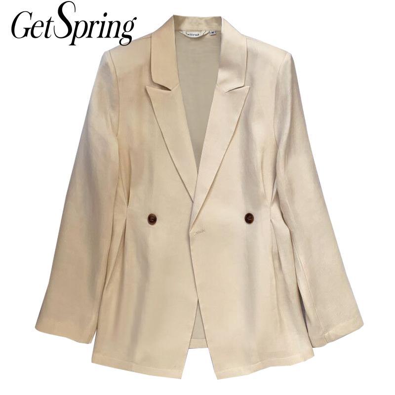 GETSPRING Женский блейзер, винтажный двубортный Блейзер, пальто, подходит ко всему, для отдыха, однотонные женские блейзеры, куртки 2020, новые модные пальто| |   | АлиЭкспресс