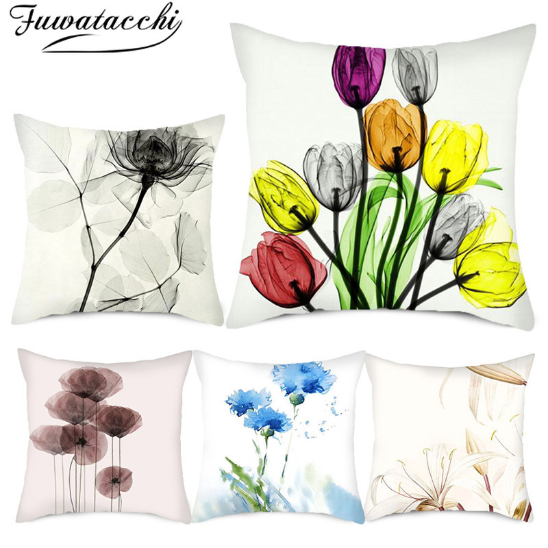 Fuwatacchi Bloom Flower Pattern Pillow Covers Colorful Floral Photo Cushion Cover For Home Sofa Car Decoration Throw Pillowcases