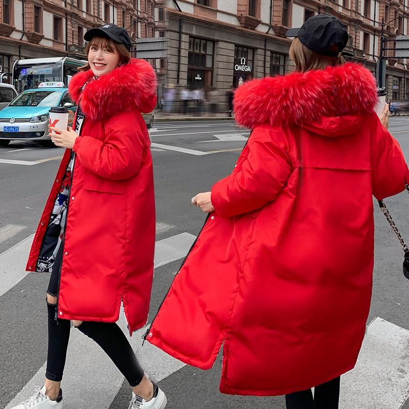-25 degrees winter women long jackets parkas both side wear Thick warm big fur collar jacket coats Casual female outwear