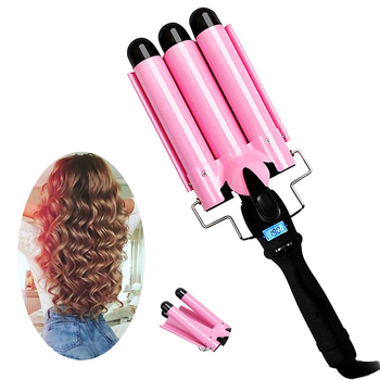Newest Triple Barrel Curling Iron Wand with LCD Temperature Display Hair Wave Waver Styling Tools Hair Styler Electric Curling