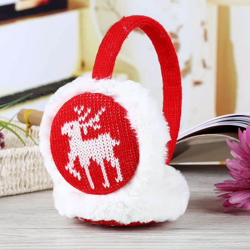 Winter Warm Earmuff Men Women Fashion Snowflake Deer Pattern Thickened Plush Korean Style Christmas Knitted High Quality Earmuff