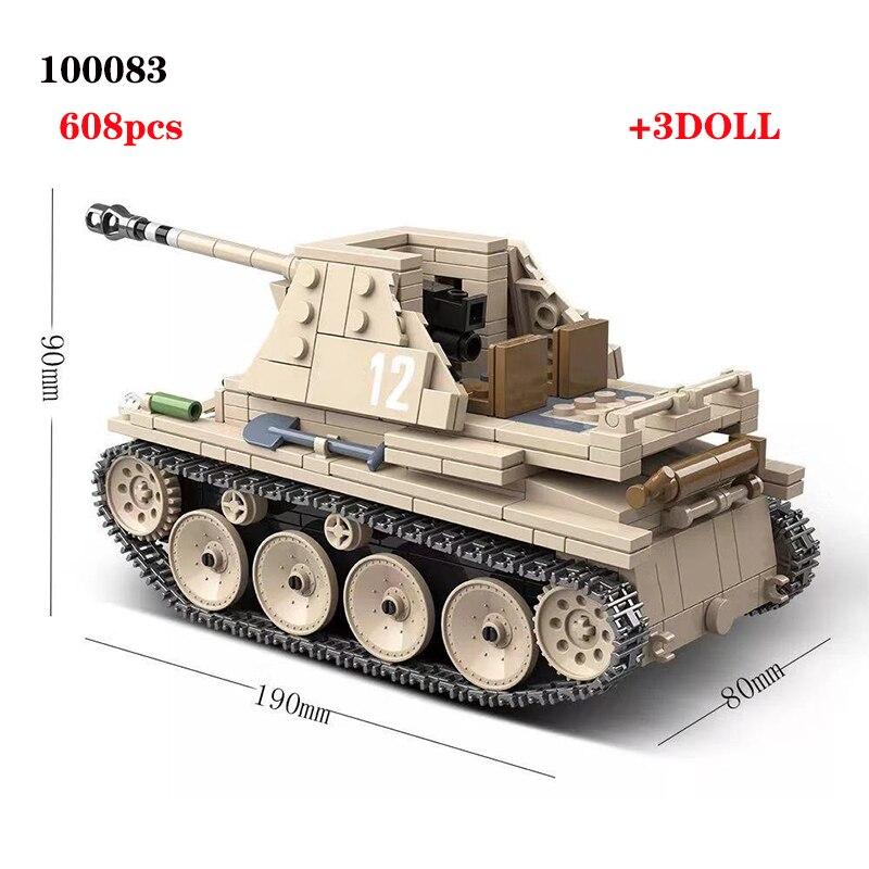 608PCS German Weasel self anti tank gun Tank Building Blocks Assemble  WW2 Military Tank Army Soldier Weapon parts Bricks ToysBlocks   -
