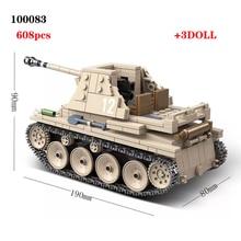 608PCS German Weasel self anti tank gun Tank Building Blocks Assemble  WW2 Military Tank Army Soldier Weapon parts Bricks Toys
