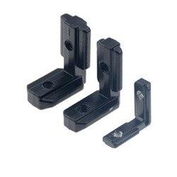 1PC 2020 3030 4040 Black L Shape Interior Corner Connector Joint Bracket with screws for EU Aluminum Profile