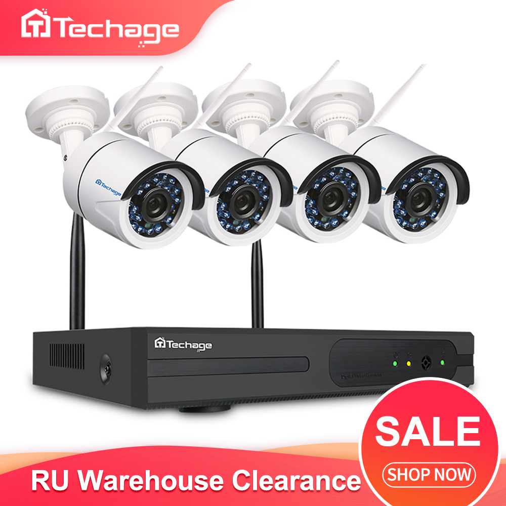 Techage 4CH 1080P HD Wifi NVR Kit Audio Record CCTV Camera System 2MP Waterproof Wireless Security Surveillance System Set RU