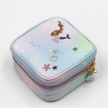 Mermaid embroidery jewelry box travel portable mini square ring nail earrings necklace storage bag