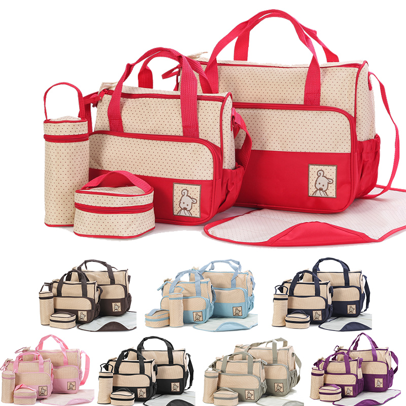 Multi-function Baby Diaper Bag Suits For Mom Baby Bottle Holder Large Capacity Mummy Stroller Maternity Nappy Bags Hobos Nursing