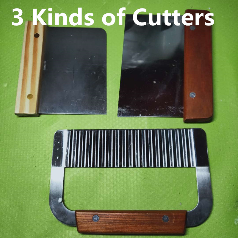 DIY Candle or Soap Cutters, Handmade Wave Soap Knife, Wooden Handle Straight Knife, Dough Scraper, French Fry Cutting Tools
