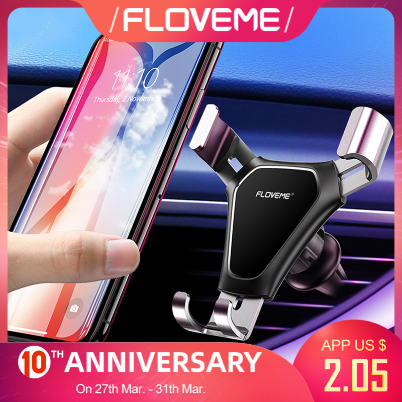 FLOVEME Gravity Car Phone Holder Air Vent Mount Mobile Phone Stand Holder For Car Cell Phone Holder Support Smartphone Voiture