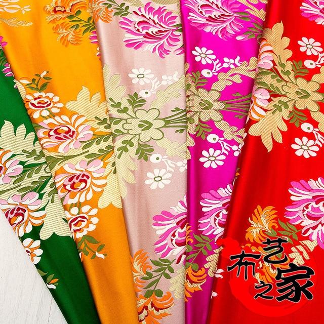Robe chinoise cheongsam en tissu pour mongolie | Tissu de film tibétain, tissu en broderie jacquard en vent/broderie rotative