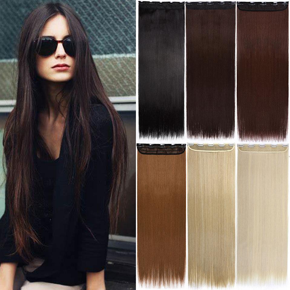 Удлинители волос S-noilite с длинным зажимом, один кусок, прямые волосы с 5 зажимами, синтетический шиньон, черный, коричневый, фиолетовый, красны...