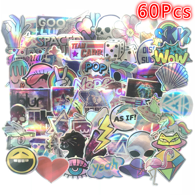 70Pcs 3D Laser Stickers Paper Star Diamond Luggage Stickers Helmet Skateboard Luminous Stickers Hologram Stickers Anime Stickers