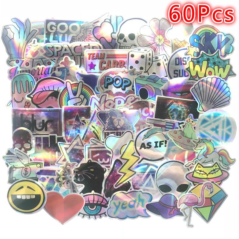 70Pcs 3D Laser Stickers Paper Star Diamond Luggage Stickers Helmet Skateboard Luminous Stickers Hologram Stickers Anime Stickers