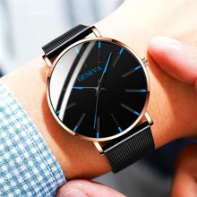 Reloj para hombre, 2019, ultrafino, de negocios, relojes de cuarzo, pulsera de acero inoxidable, reloj de pulsera Simple para hombre, relojes para hombre