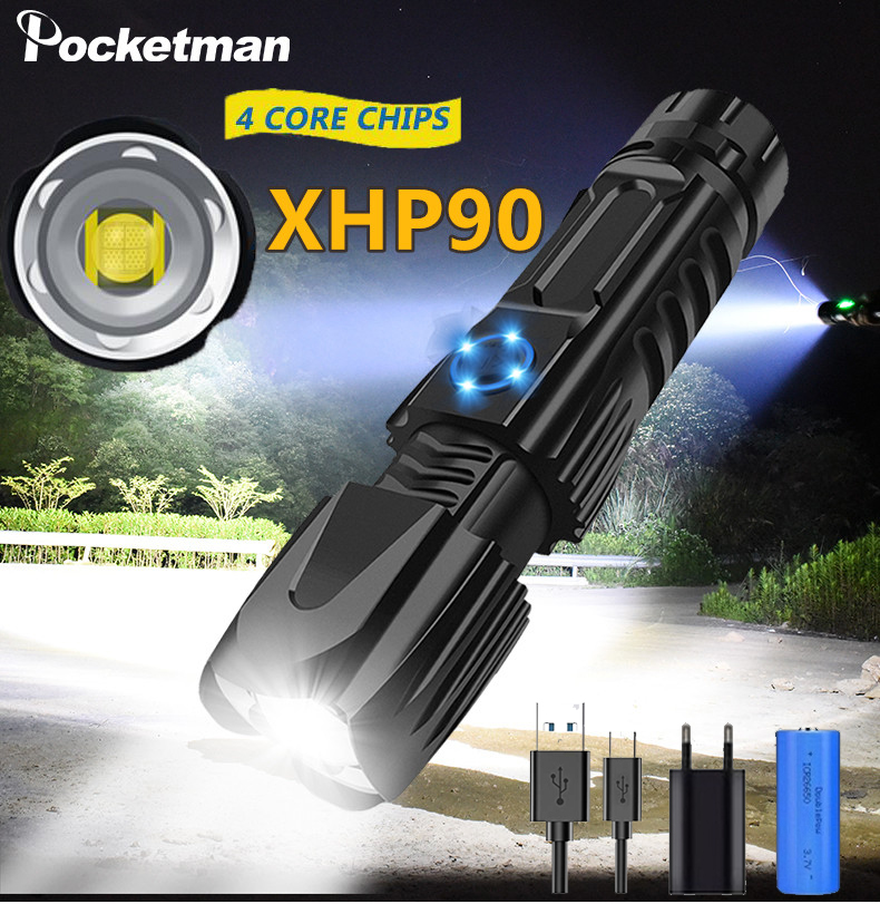 Bright Led Flashlight Led Torch Light Rechargeable Xhp90 Tactical Waterproof Hunting Flashlight Head Power By 1*26650 Battery