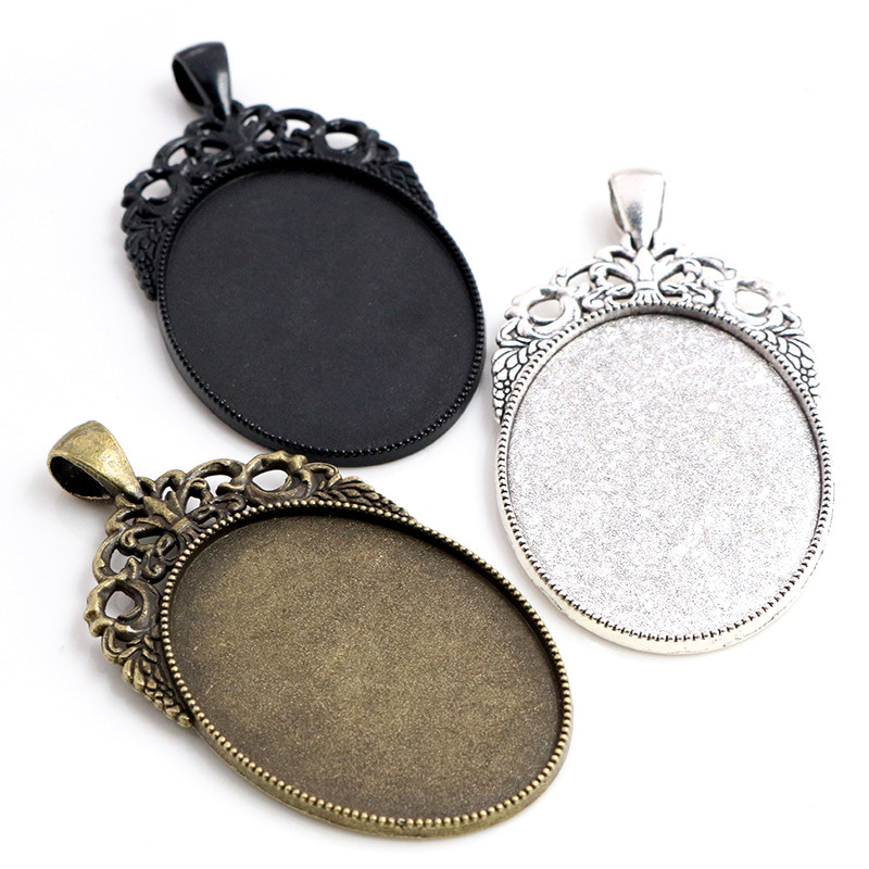 New Fashion 5pcs 30x40mm Inner Size Antique Silver/Black/Bronze Plated Flowers Style Cabochon Base Setting Charms Pendant