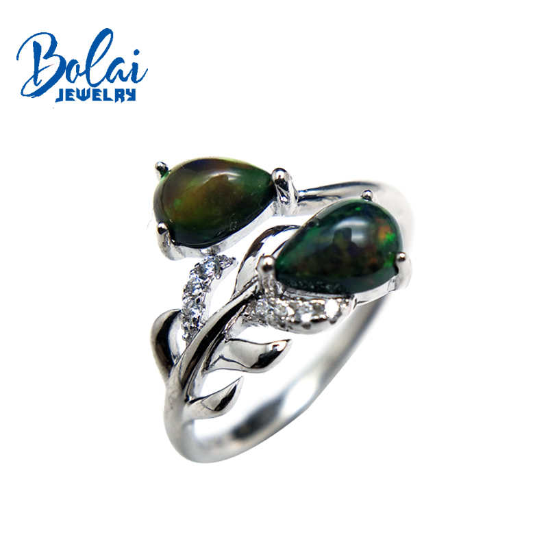 bolaijewlry,feather shape rings natural multicolor black opal gemstone in 925 sterling silver fine jewelry for lady best gift