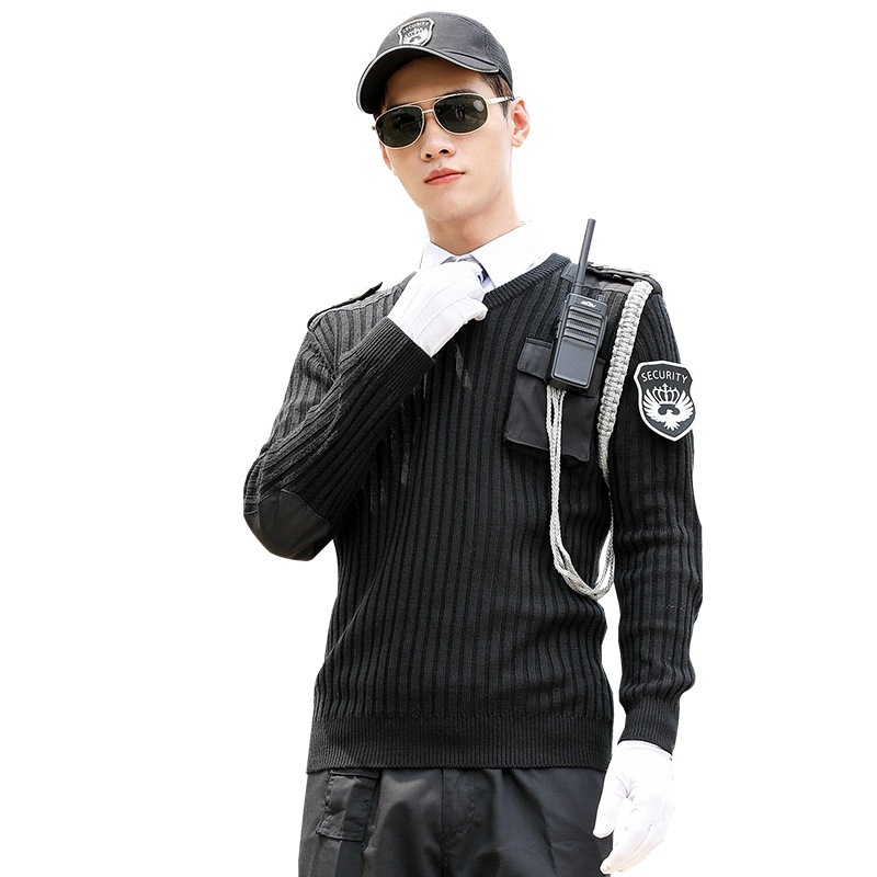 Men Pullover Knitwear Leisure Sweater Sets High Quality Men's Thick Winter Personality Security Uniform Workwear Suits
