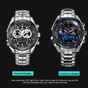 Image 4 - Men Watches waterproof Quartz Watch Double display Sport TVG Brand Digital LED Military writewatch Stainless Steel Male Clock