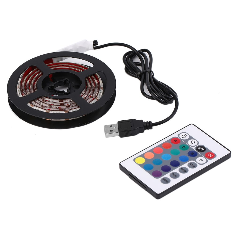 Waterproof LED Strip Light <font><b>12</b></font> RGB 5050 SMD LED White Strip Lamps Light 5V TV Tape Lighting with Remote Controller & USB <font><b>5</b></font> Sizes image