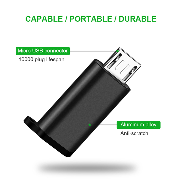 Type C Female to Micro USB Male Cable Adapter Converter for Xiaomi Redmi Huawei Meizu Samsung Galaxy S7 Microusb Android Phone 2