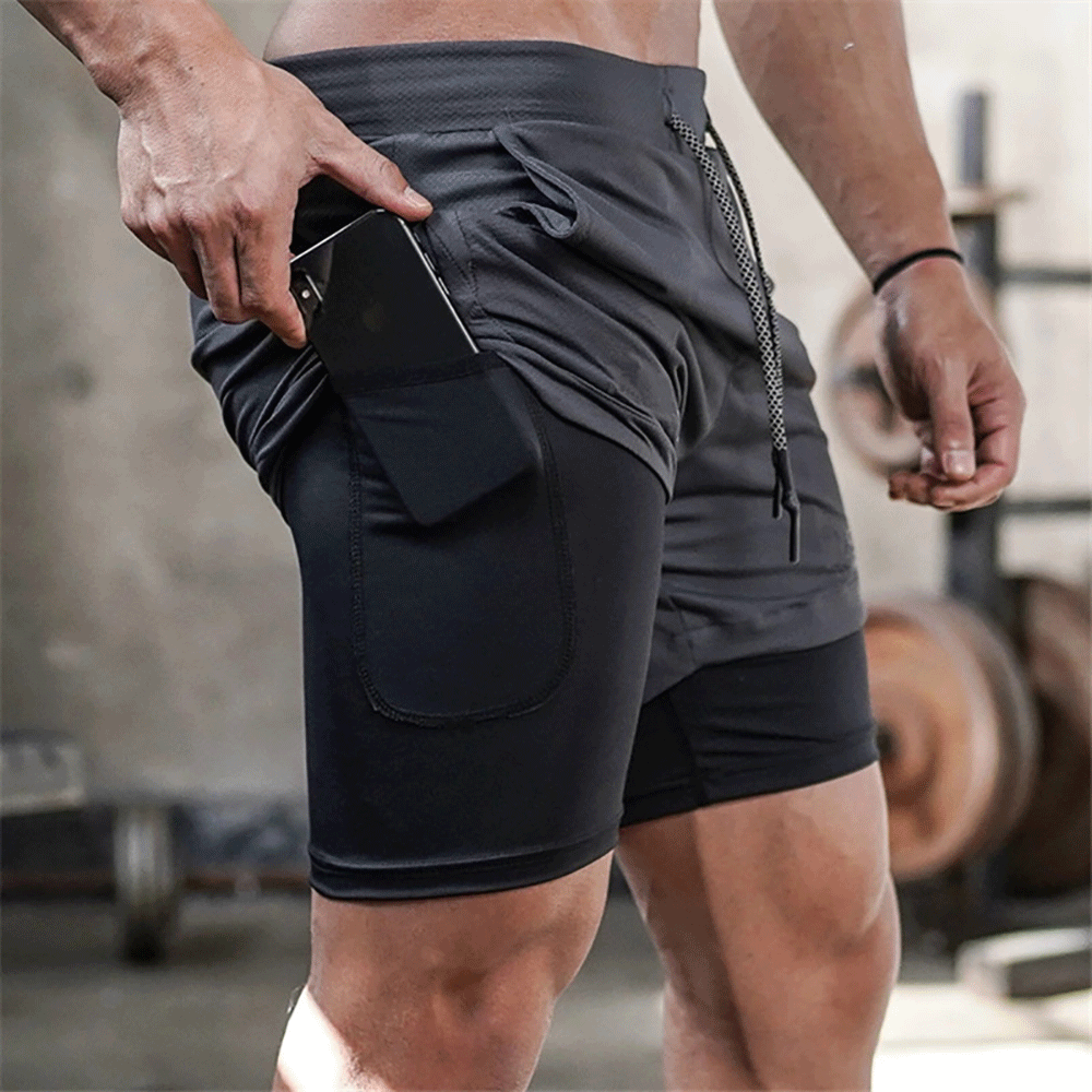 Fitness Shorts Gym Training Jogging Sport Quick-Dry Mens Summer 2-In-1