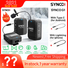 SYNCO G1(A2) 2.4GHz Wireless Lavalier Microphone System with 2 Transmitters, 1 Receiver & 1 External Lav Microphone Compatible w