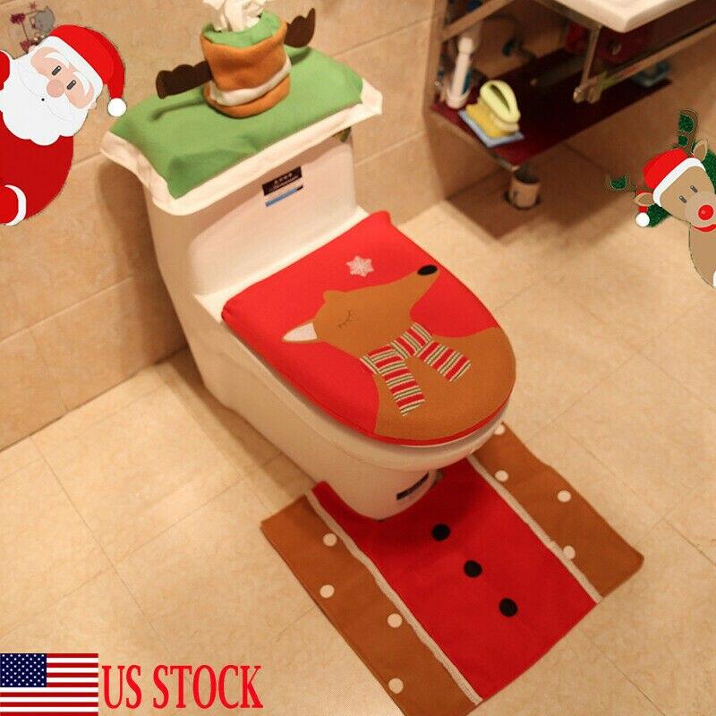 3 piezas de Asiento de baño de Navidad y cubierta de Asiento de baño de alce de Navidad decoración