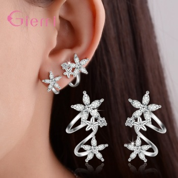 Trendy 925 Sterling Silver None Piercing Cuff Earrings Cubic Zircon Brincos Flower Clip Earrings for Women.jpg 350x350 - Trendy 925 Sterling Silver None Piercing Cuff Earrings Cubic Zircon Brincos Flower Clip Earrings for Women Girl Gifts Jewelry