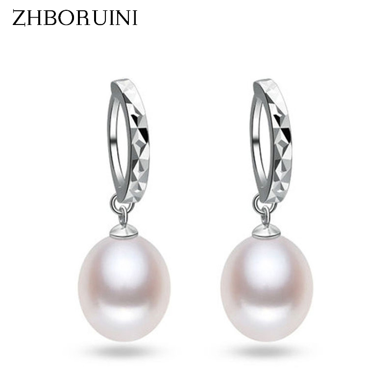 ZHBORUINI 2019 Fashion Pearl Earrings 925 Sterling Silver Natural Freshwater Pearl Water Drop Earring Jewelry For Woman Gift