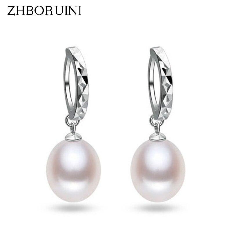 ZHBORUINI 2019 Fashion Pearl Earrings 925 Sterling Silver Natural Freshwater Pearl Water Drop Earring Jewelry For Woman Gift
