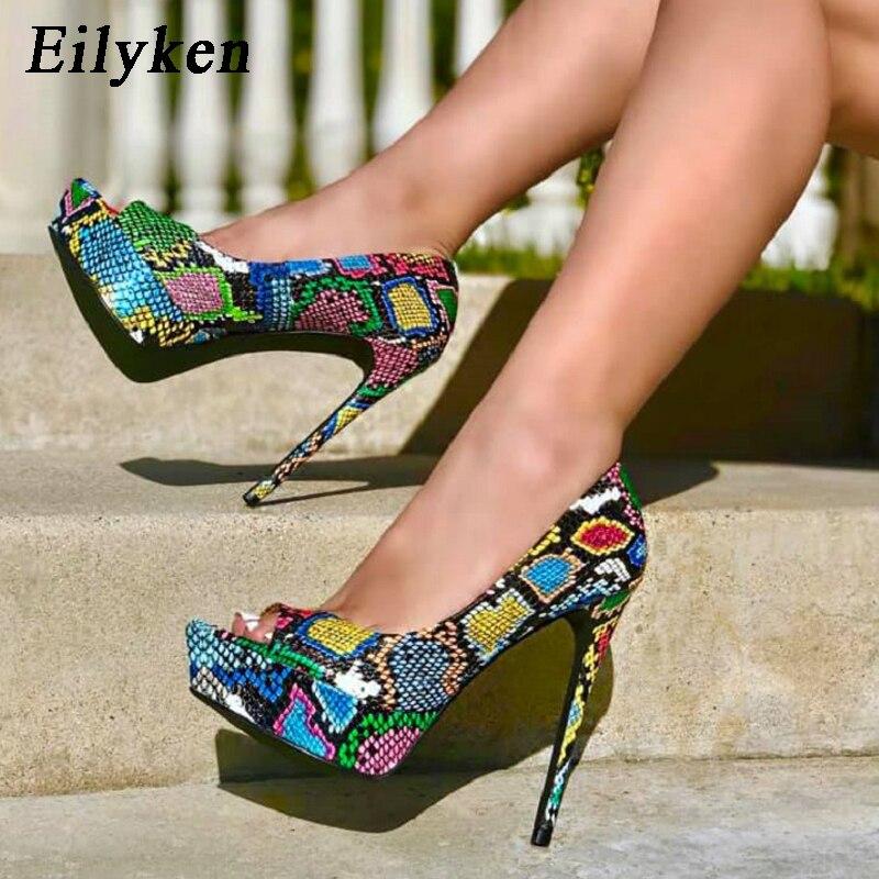 EilyKen Fashion Green Serpentine Women Pumps Wedding Shoes Women High Heels 15.5CM Platform Peep Toe Pumps