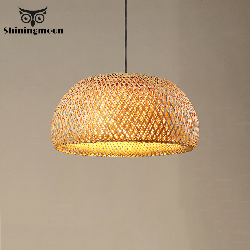 Vintage Japanese Pendant Lights Bamboo LED Pendant Lamp Handmade Knitted Hanging Lamp Kitchen Restaurant Suspension Luminaria