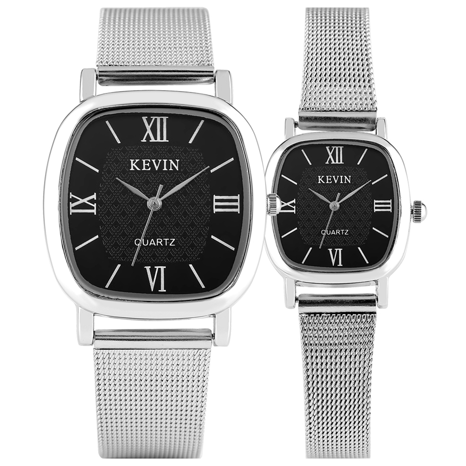 Roman Numerals Black Square Dial Couple Watches KEVIN Men Stainless Steel Watch Women Casual Wristwatch Pin Buckle Clock Gifts