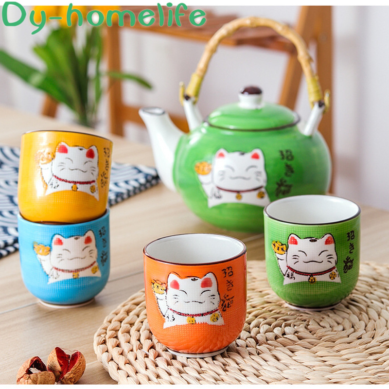 Japanese Creative Multicolor Cartoon <font><b>Lucky</b></font> <font><b>Cat</b></font> Ceramic Coffee Tea Set Chinese Style Wooden Tray Lift Beam Pot Tea <font><b>Cup</b></font> Set image