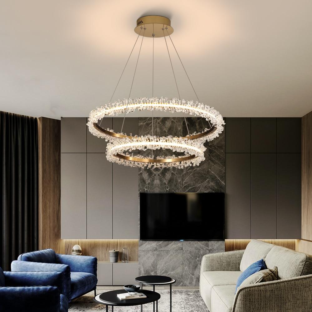 Image 4 - Современная хрустальная люстра, освещение для гостиной, Золотое кольцо, светодиодные люстры, украшение дома, блеск, Кристальные лампы-in Люстры from Лампы и освещение