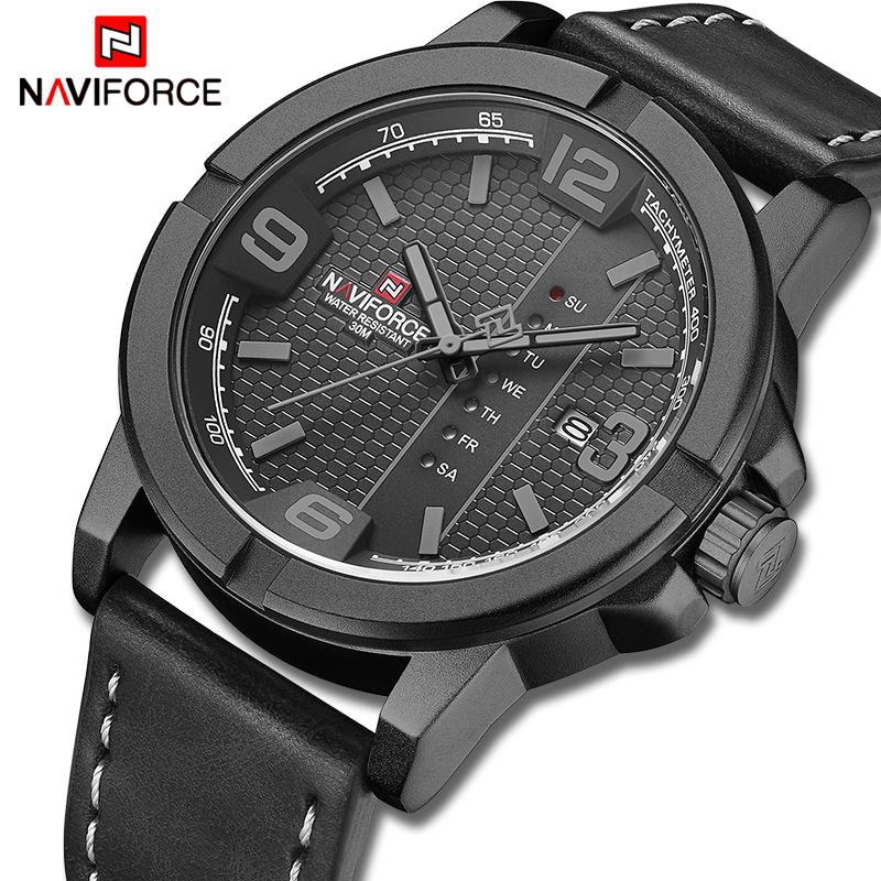 NAVIFORCE Watches For Men Top Luxury Brand Casual Quartz Watch Mens Leather Waterproof Wristwatch Male Clock Relogio Masculino