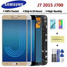 Pantalla LCD táctil para móvil, montaje de digitalizador con marco negro, blanco y dorado para SAMSUNG Galaxy J7 2015 J700 J700F J700M J700H